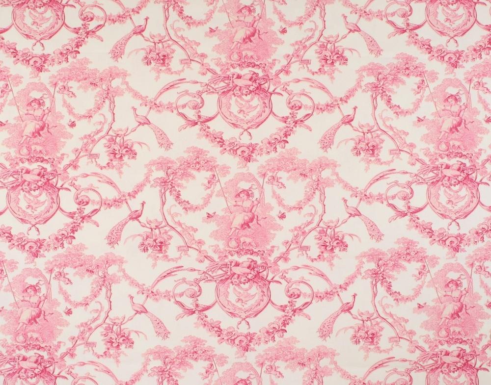Französischer Stoff LUDIVINE Rose Fond Creme