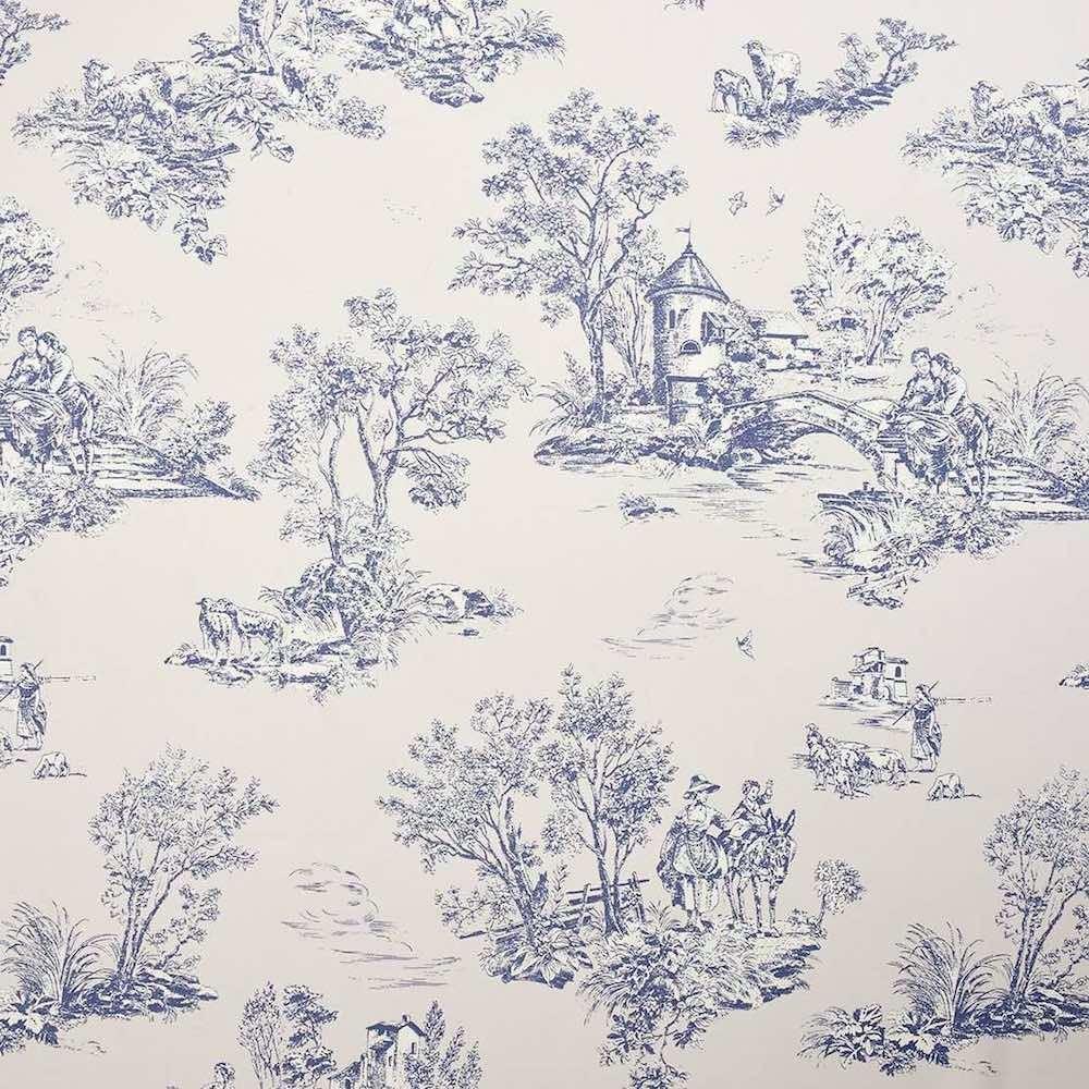 franz toile de jouy stoff fantine blau grau arte fresca. Black Bedroom Furniture Sets. Home Design Ideas