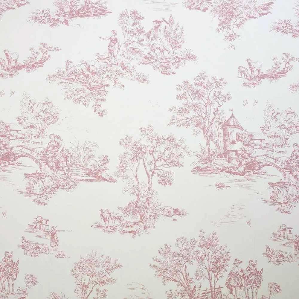 Toile De Jouy Stoff Fantine Rosa Arte Fresca