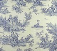 Toile de Jouy Stoff im Landhausstil in Blau